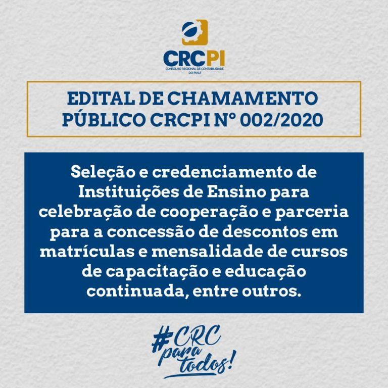 CRC-PI divulga editais de chamamento para parcerias e acordos educacionais