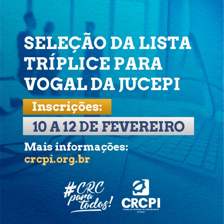 CRC-PI abre inscrições para seleção da lista tríplice para Vogal da JUCEPI
