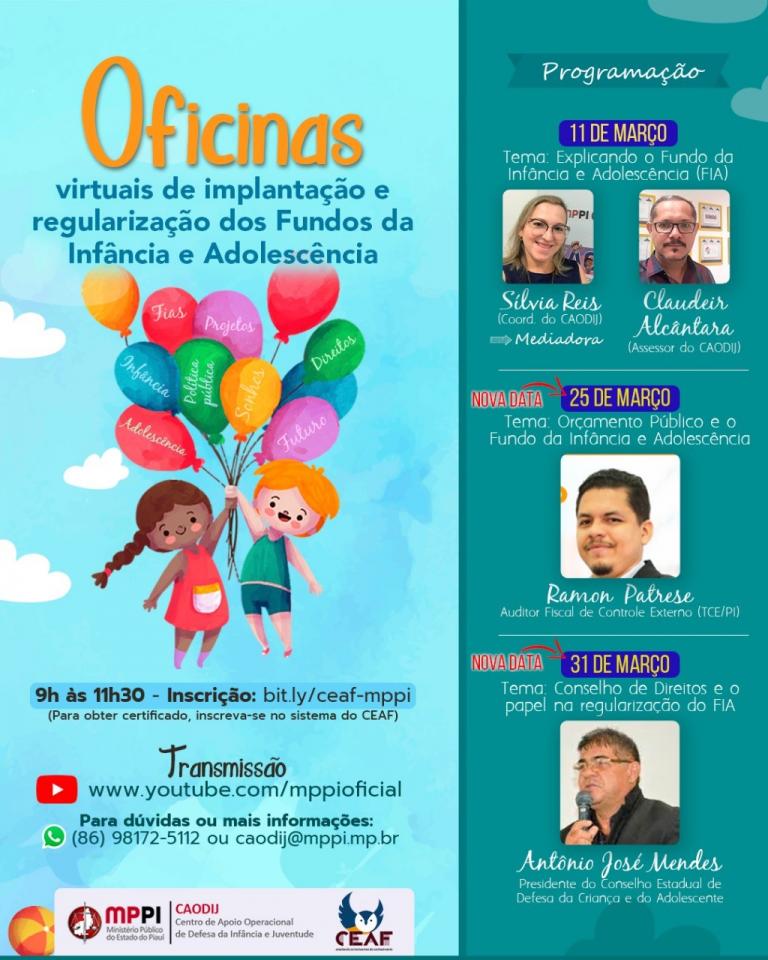 Oficinas Virtuais discutirão Implantação/Regularização dos Fundos Municipais da Infância e Adolescência